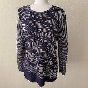 NIC+Zoe Blue Asymmetrical Mesh Geometric Sweater